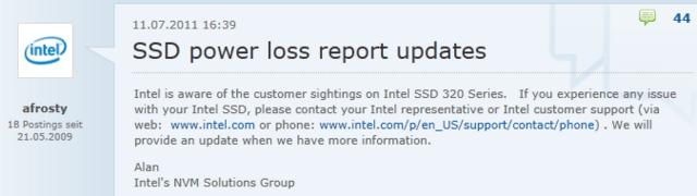Intel nimmt sich dem SSD-320-Series-Problem an