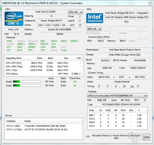 Hardware Info 64 - Leerlauf