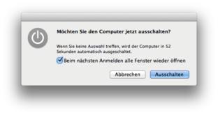 Mac OS X Lion – Herunterfahren