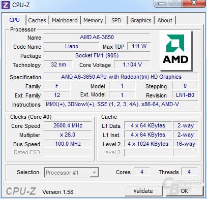 AMD A6-3650 undervoltet