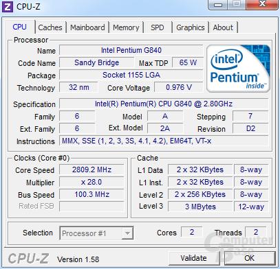 Intel Pentium G840 undervoltet