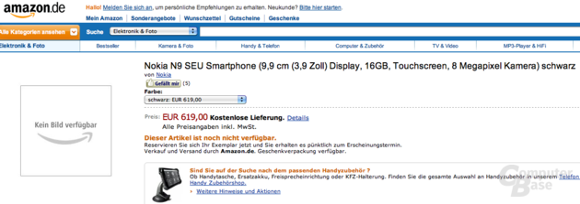 Nokia N9 bei Amazon.de gelistet