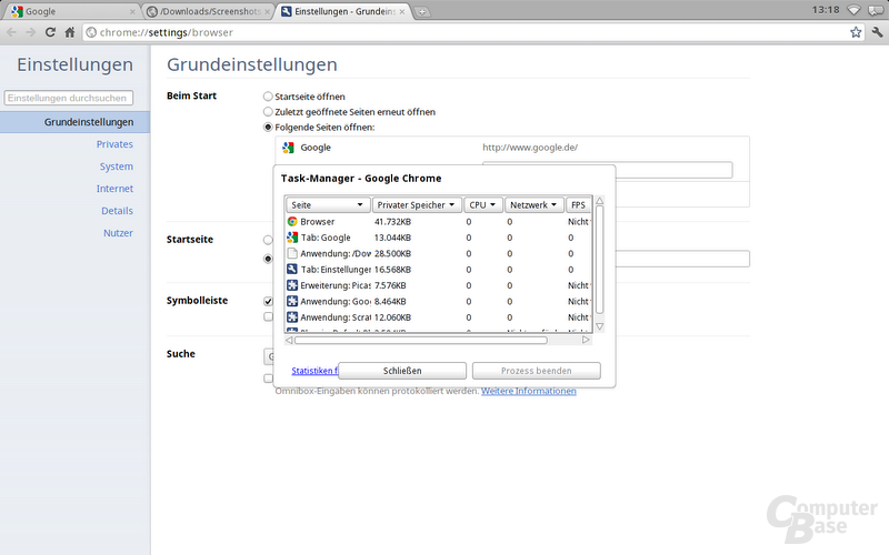 Auch in Chrome OS vorhanden: Der Task-Manager