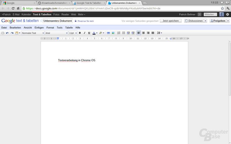 Chrome OS: Google Docs