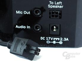 spezieller Anschluss des linken Lautsprechers