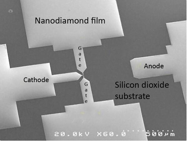 Nanodiamant-Transistor unter dem Elektronenmikroskop | Quelle: Davidson Lab