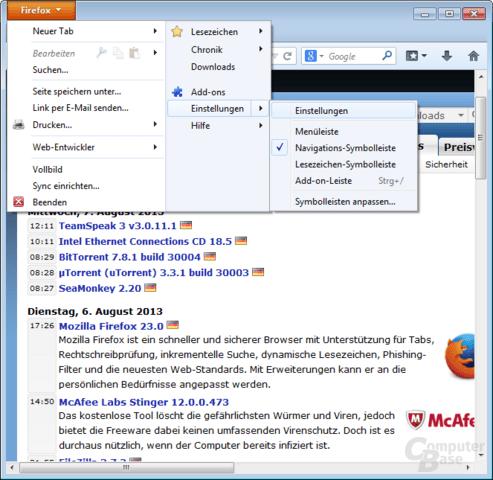 Firefox Dynamische Lesezeichen