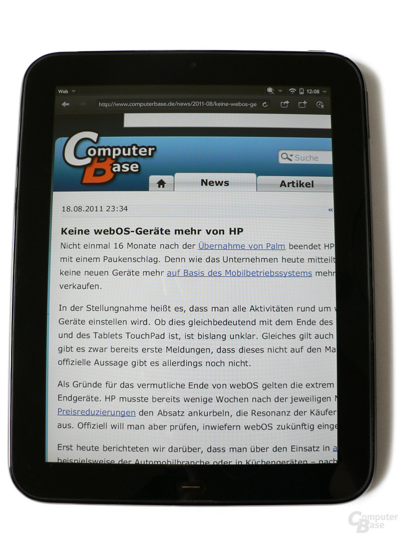webOS-Browser auf dem TouchPad