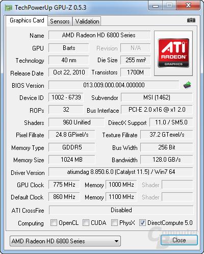 PCIe x1 bei GPU-Z