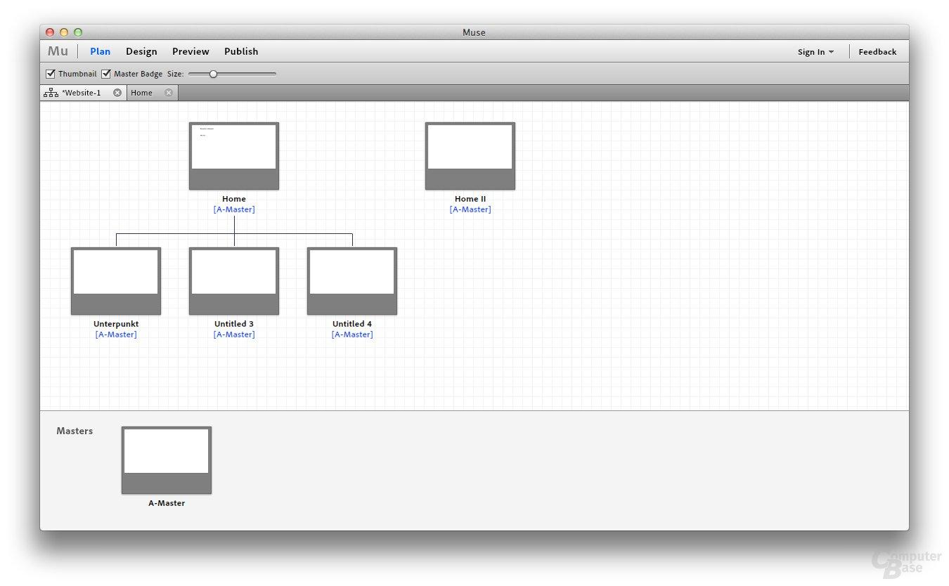 Adobe Muse Beta – Sitemap-Planung