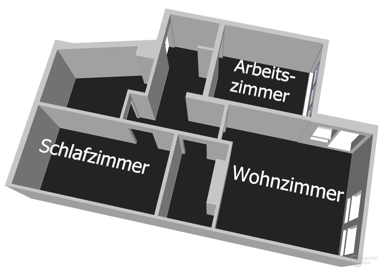 Grundriss der Berliner Testwohnung für den Audio-Streaming-Test