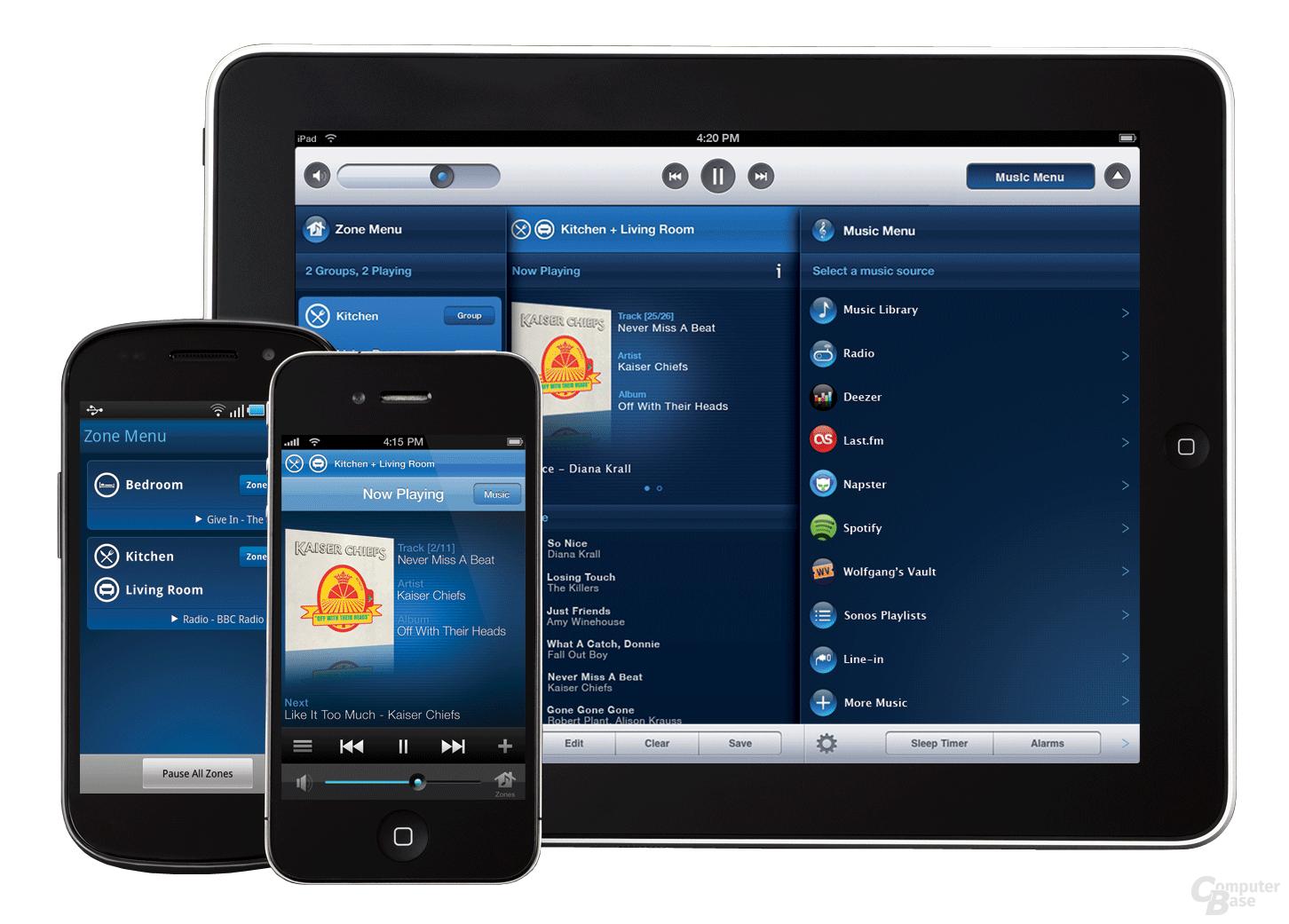 Steuerung via Android oder iOS (Sonos-App). Bildquelle: Sonos.