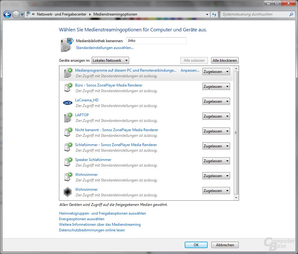 Streaming-Optionen in Windows