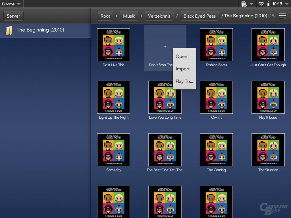 """""""BHome"""" - UPnP-Mediaplayer für das HP Touchpad"""