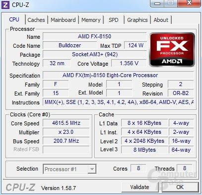 AMD FX-8150 auf 4,6 GHz mit allen Kernen