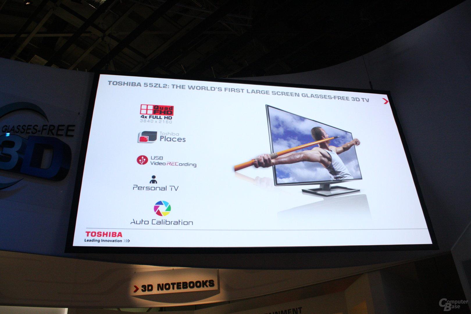Presse-Präsentation von Toshiba zum brillenlosen 3D-TV