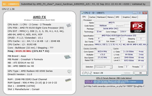 AMD FX (Bulldozer) bei 8,429 GHz