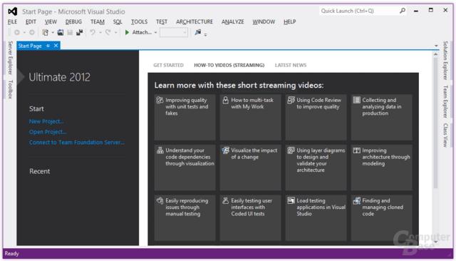 Visual Studio Ultimate 2012 – Start Page