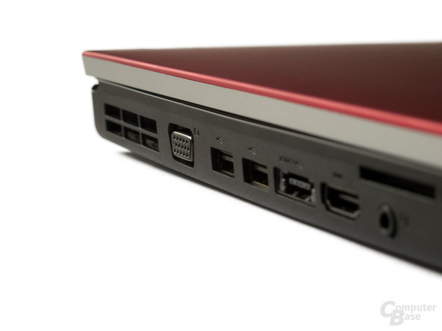 Anschlüsse links: VGA, USB, eSATA, HDMI und Audio