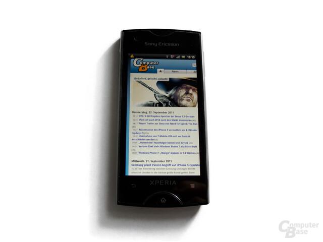 Sony Ericsson Xperia Ray: Der Bildschirm ist leider sehr schmal