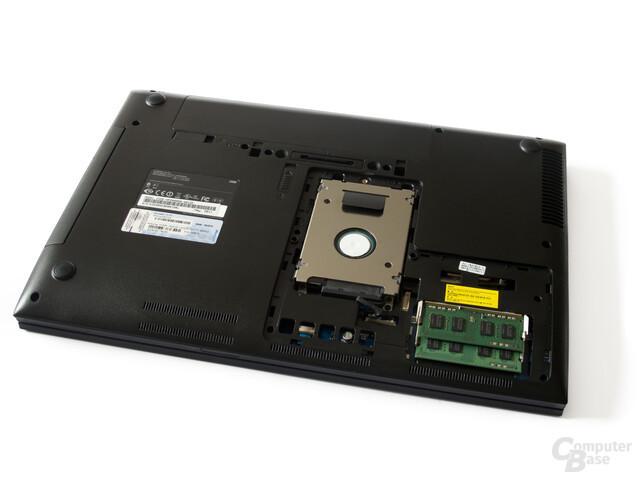 Samsung 200B5B: Festplatte und Arbeitsspeicher sind leicht zugänglich