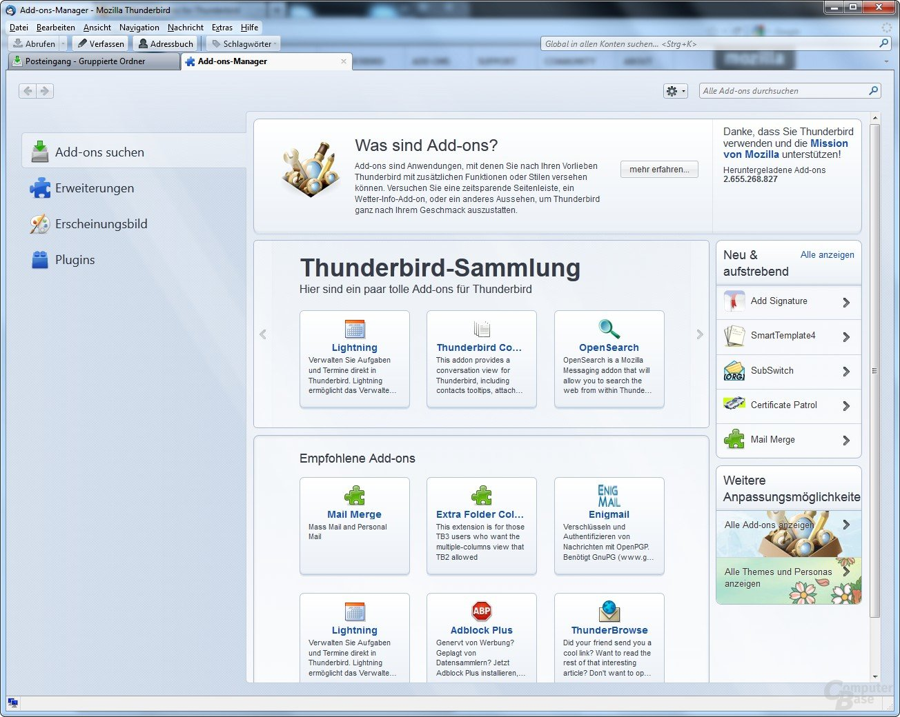 Thunderbird 7: Add-ons-Manager