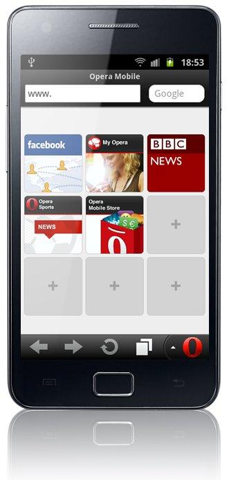 Opera Mobile 11.5 für Android auf dem Smartphone