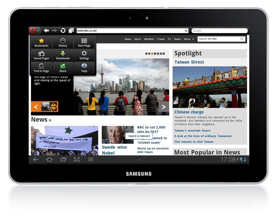 Opera Mobile 11.5 für Android auf dem Tablet