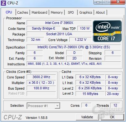 Intel Core i7-3960X Extreme Edition im Turbo für sechs Kerne