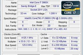 Intel Core i7-3960X Extreme Edition mit Bus-Speed 125 MHz