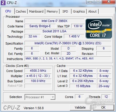 Intel Core i7-3960X Extreme Edition übertaktet auf 4,5 GHz