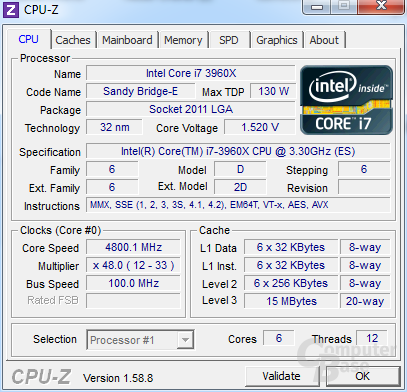Intel Core i7-3960X Extreme Edition übertaktet auf 4,8 GHz