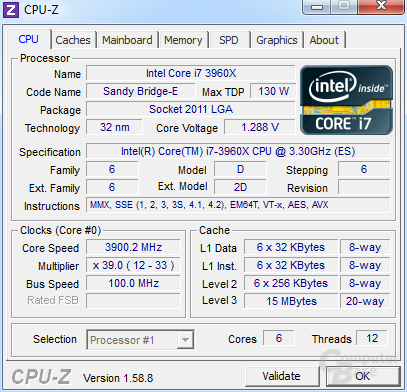 Intel Core i7-3960X Extreme Edition im maximalen Turbo