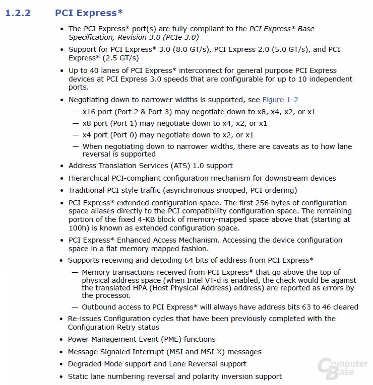Spezifikationen von Sandy Bridge-E bei PCI Express