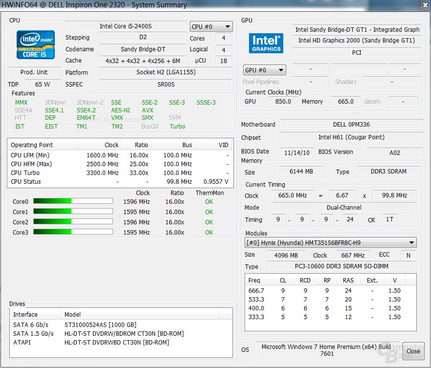 Dell Inspiron One 2320: System im Leerlauf