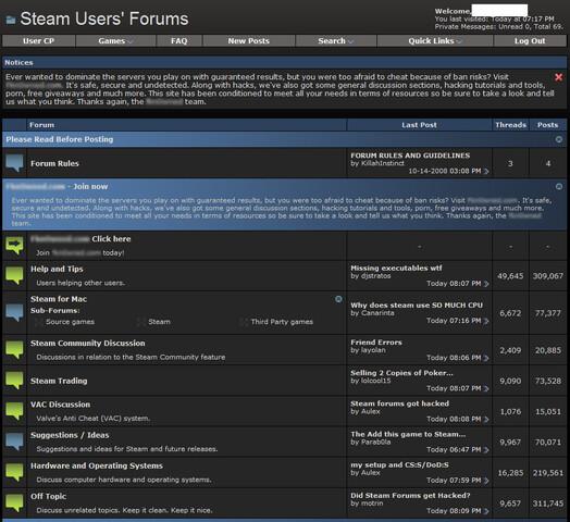 Ankündigung und neues Unterforum im Steam-Forum