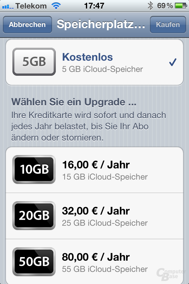 Apple iPhone 4S: iCloud-Optionen