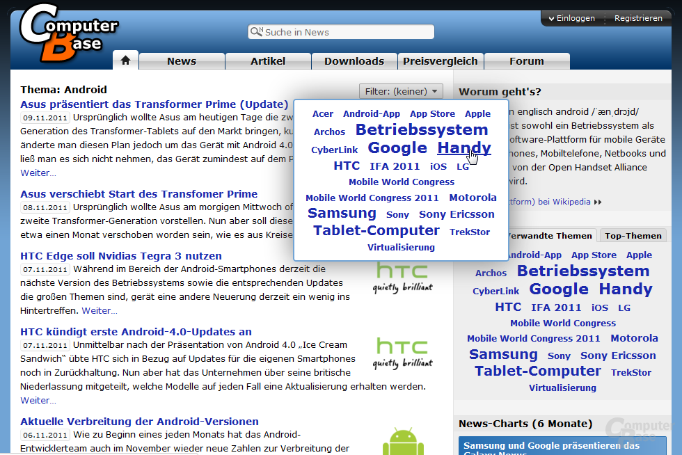"Themenseite ""Android"" mit Filter-Menü"