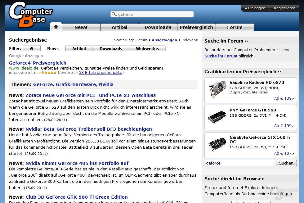 Vorschlag von Themenseiten bei der Suche