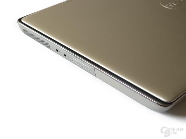 Dell XPS 14z: Anschlüsse links: Audio, Kartenleser