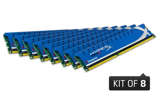 DDR3-Vier-Kanal-Speicherkit mit acht Modulen aus Kingstons HyperX-Familie