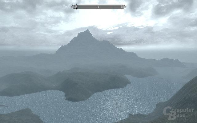 Blick auf die Insel Vvardenfell mitsamt des Red Mountain