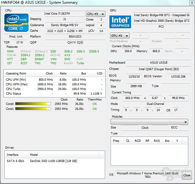 Asus Zenbook UX31E: System unter Last
