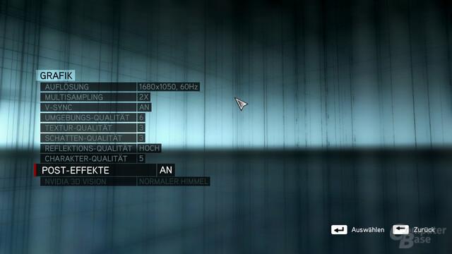 """Assassin's Creed: Revelations: Einstellungsmöglichkeiten unter dem Reiter """"Grafik"""""""