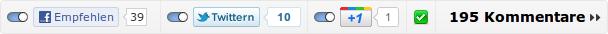 Alle drei 2-Klick-Empfehlungsbuttons und der Speichern-Button sind aktiviert