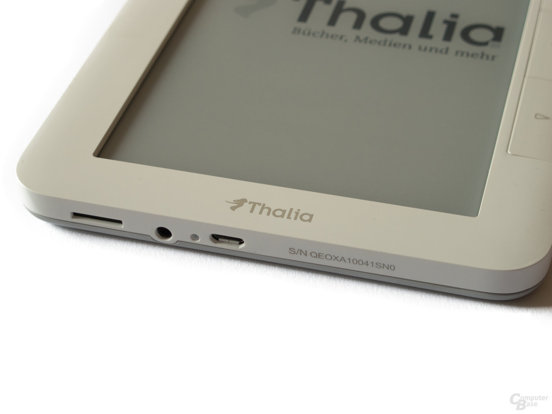 Thalia Oyo II Anschlüsse: Slot für microSD-Karten, Audio-Ausgang und Mini-USB