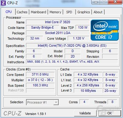 Intel Core i7-3820 im Turbo für alle Kerne undervoltet