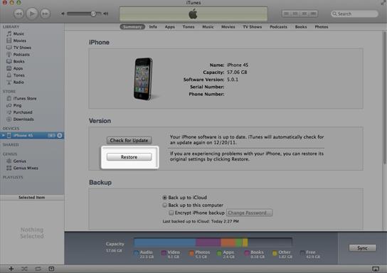 iPhone-Widerherstellung in iTunes