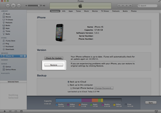 iPhone-Widerherstellung in iTunes