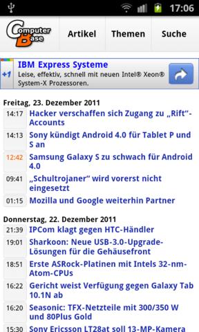 Mobile Startseite